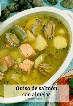 Guiso de salmón con almejas*. Seafood Recipes, Mexican Food Recipes, Cooking Recipes, Healthy Recipes, I Love Food, Good Food, Soups And Stews, Food To Make, Food Porn