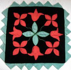 Vintage Folk Art Black Velvet Pillow Case by vintagous on Etsy, $22.00