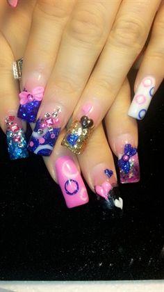 Pink and blue  by amity4life - Nail Art Gallery nailartgallery.nailsmag.com by Nails Magazine www.nailsmag.com #nailart