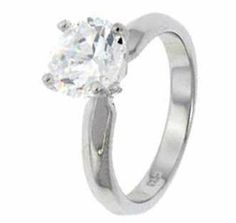 Sterling Silver Engagement Ring With Round Cubic Zirconia In Classic Solitaire Setting Crazy2Shop. $6.50. Width of Ring: 3mm. Finish: Rhodium. Engagement Ring Features: Center Stone 8mm Round Stone on a Plain Band. Metal: Sterling Silver. Stone Type: Cubic Zirconia. Save 81% Off!