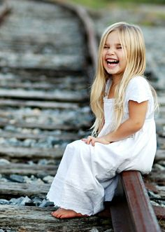 Little girl on a railway track