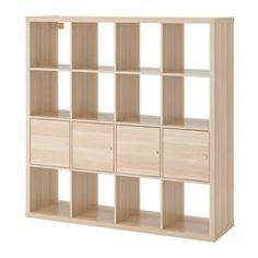 IKEA - KALLAX, Estant+4accs, efecto roble tinte blanco,