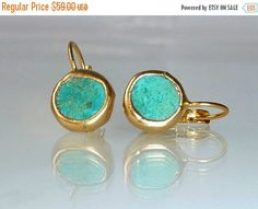 Spring SALE  Turquoise earrings simple everyday by inbalmishan