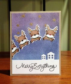 Reindeer games card with Distress Ink background on watercolor paper