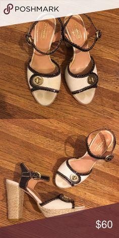 Coach platform heels with jute heel and Coach platform heels with jute heel, gold twist buckle, and brown croc leather trim Coach Shoes Heels