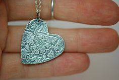 Antiqued sterling silver heart pendant by SilverByKat on Etsy