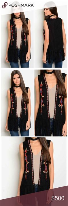 🆕embroidered fringe vest This Sleeveless open front fringe hem embroidery detail vest features a buttery faux suede fabric made of 100% polyester. Gorgeous colorful details contrast vibrantly on a solid black vest. Limited quantity! BellaBae Jackets & Coats Vests