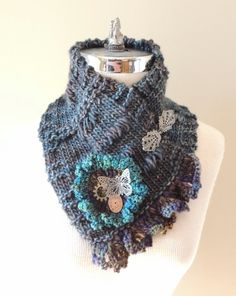 Eclectic Butterfly Scarf in Blue Grey by Valerie Baber Designs -  IntricateKnits on Etsy, $70.00