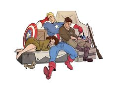 Marvel Drawing Captain America - Nap Time - A quiet moment where the trio is literally letting their guards down. Marvel 3, Marvel Fan Art, Marvel Funny, Marvel Memes, Avengers Quotes, Captain Marvel, Ace Comics, Stucky, Bucky Barnes