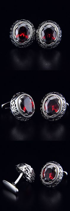 SPARTA Duke Plated with White Gold red AAA Class zircon cufflinks men's Cuff Links + Free Shipping !!! metal buttons