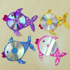 Bastelarbeiten CD Crafts: 70 ideas and tutorials step by step - new decoration styles Perhaps one of Cd Fish Crafts, Crafts With Cds, Kids Crafts, Old Cd Crafts, Ocean Crafts, Summer Crafts, Arts And Crafts, Paper Crafts, Unicorn Crafts