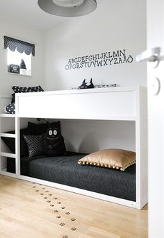 Where can i find these bunk beds? I love that the bottom bunk is on the floor so the top bunk isn't at the ceiling. Genius!