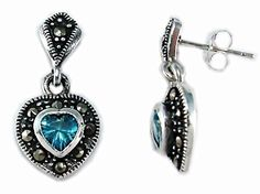 Sterling Silver Dangle Heart Marcasite Pierced Earrings Aqua Cubic Zirconia CZ  #HB #ValentinesDay