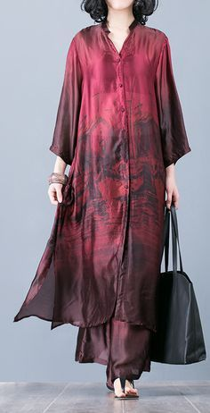 Natural red prints Silk outfit Pakistani pattern with wide leg pants oversized s. - Natural red prints Silk outfit Pakistani pattern with wide leg pants oversized summer two pieces Dresses Linen Dresses, Women's Dresses, Fashion Dresses, Vintage Dresses, Indian Dresses, Indian Outfits, Pakistani Dresses Casual, Pakistani Suits, Indian Fashion