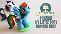 My little pony cake topper: How to make a fondant Rainbow dash gum paste model. In this cake decorating tutorial I show you how to make a my little pony cake. My Lil Pony Cake, My Little Pony Unicorn, My Little Pony Birthday, My Little Pony Party, Rainbow Dash Cake, Fondant Rainbow, Zoes Fancy Cakes, Fondant Cake Toppers, Fondant Figures