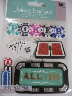 Las Vegas Scrapbooking layout ideas! Gamble, ladies night! POKER CARDS Jolees Boutique dimensional Scrapbooking Stickers by ExpressionsofFaith, $2.99