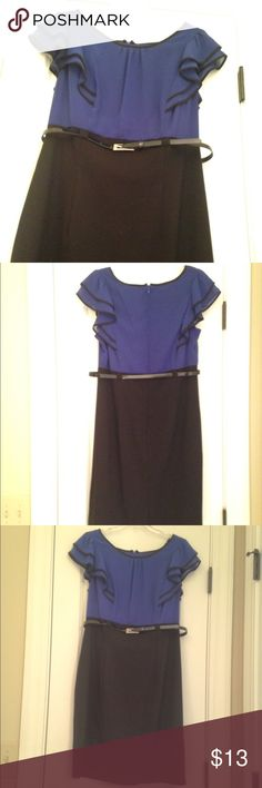 Dress Blue and black dress with belt; giving detail to waist.  Dress it up with s suit jacket. Worn once. No signs of wear.  In great condition.  Fits like a Misses 10..Fun and feminine  Dresses Midi