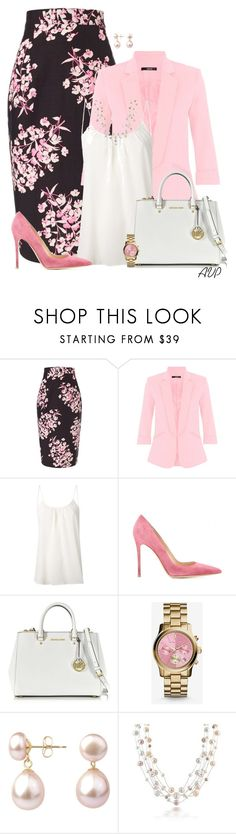 """""""Jonathan Saunders Black Sakura Floral Skirt"""" by amy-phelps ❤ liked on Polyvore featuring Jonathan Saunders, Dorothy Perkins, Amour Vert, Gianvito Rossi, Michael Kors, A B Davis and Bling Jewelry"""