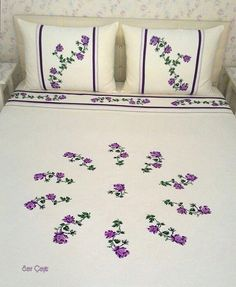 This Pin was discovered by Lal Bed Cover Design, Bed Linen Design, Embroidery Motifs, Embroidery Designs, Embroidered Bedding, Luxury Bedding Collections, Bed Linen Sets, Ornaments Design, Fabric Painting