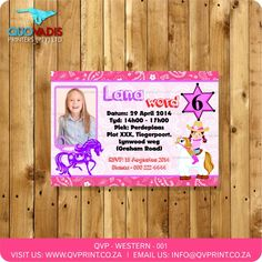 Western Invitation Girls - Pink and Purple Birthday Invitation - printable Invite. This listing is for a x invitation (your choice of a printable file or printed and shipped) customized with your event details. Western Invitations, Purple Birthday, Printable Birthday Invitations, Corporate Gifts, Pink Girl, Invite, Printed, Words, Wedding