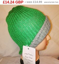 RETRO grey green colour mix Handmade beanie hat double knit extra thick ski snowboard garden one size unisex wool  Many colours available    ALL ITEMS HANDMADE BY LITTLE OLD ME :D Can be made to order with same day dispatch Feel free to message me anytime