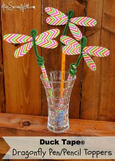 Duck Tape dragonfly pen and pencil toppers