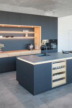 Grey Kitchen Designs, Kitchen Cupboard Designs, Luxury Kitchen Design, Interior Design Kitchen, Kitchen Ceiling Design, Kitchen Bar Decor, Kitchen Room Design, Moduler Kitchen, Modern Kitchen Cabinets