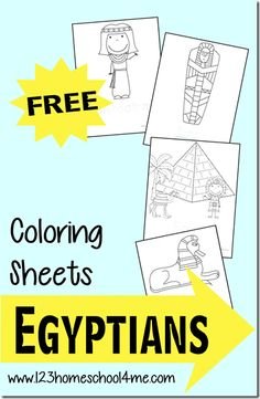 FREE Ancient Egyptian Coloring Sheets - super cute coloring pages for preschool, kindergarten, grade, grade, and grade history Ancient Egypt Activities, Ancient Egypt Crafts, Ancient Egypt For Kids, Egyptian Crafts, Egyptian Art, Ancient Aliens, Ancient Greece, Egyptian Mythology, Egyptian Goddess