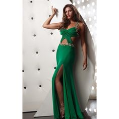 Jasz Couture 4330 Prom Long Dress Long V-Neck Sleeveless ($338) ❤ liked on Polyvore featuring dresses, gowns, emerald, formal dresses, formal ball gowns, long prom dresses, formal evening dresses, long dresses and long formal evening dresses