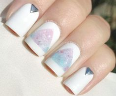 White nails with pastel gradient triangles