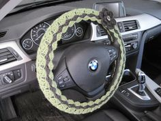 Crochet Steering Wheel Cover with a Flower