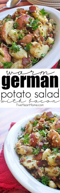 Warm German Potato Salad with Bacon ~ a perfect side dish for a summertime dinner from the grill, picnic, or holiday potluck | FiveHeartHome.com Warm German Potato Salad Recipe, German Potato Recipes, German Food Recipes, German Potato Soup, Classic Potato Salad, German Potatoes, German Potato Salads, German Recipes Dinner, Authentic German Potato Salad