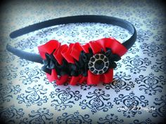 Red and Black Ruffle Headband by babyzdesigns on Etsy, $8.00