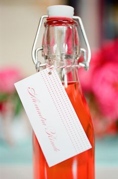 Flaske med etikett (bordkort)