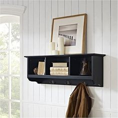 Solve overcrowding and clutter in your hallway by adding the Crosley Brennan Entryway Storage Shelf- Black to your home. Combined with the Crosley Brennan. Wall Mounted Storage Shelves, Cubby Storage, Wall Mounted Coat Rack, Hanging Storage, Storage Spaces, Shelving, Coat Hooks, Storage Systems, Crate Storage