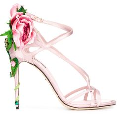 Dolce & Gabbana Ricamo Fiori Sandals ($1,995) ❤ liked on Polyvore featuring shoes, sandals, heels, embroidered sandals, stiletto heel sandals, floral shoes, ankle strap sandals and heeled sandals