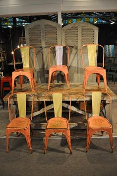 Set of 6 original tolix chairs c.1950