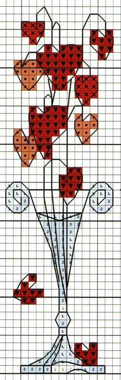 'Hearts in Tall Glass Vase' from Michael Powell's 'Mini Cross Stitch' book (paperback, pub. Search Press). There are twenty to make and they are all very quirky and appealing. I have made most of the pictures in this book for someone or other and they are a real pleasure to work on.