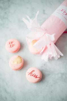 Calligraphy macaroons: http://www.stylemepretty.com/living/2015/02/11/a-galentines-soiree/ | Photography: Abby Jiu - http://www.abbyjiu.com/
