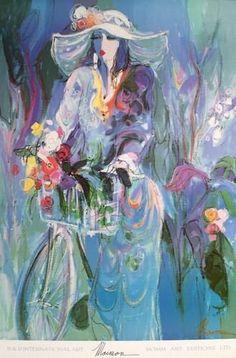 Isaac Maimon Paintings & Artwork for Sale Paintings I Love, Beautiful Paintings, Modern Art, Contemporary Art, Arte Judaica, Bicycle Art, Jewish Art, Art Forms, Female Art