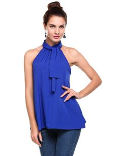 8d600e12a6934d Meaneor Women s Summer Chiffon Sleeveless Office Blouse Tank Shirt Halter  Neck Tie Back Solid Tops Royal Blue at Amazon Women s Clothing store
