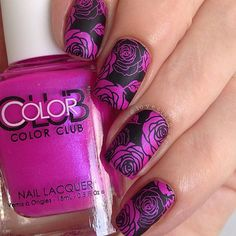I love a good rose stamp I've had @colorclubnaillacquer Right On sitting in a helmer all unloved for a while. Shame on me - it's awesome! Bright pink with purply undertones I stamped using BPL-024 and Ya Qin An Black stamping polish sent to me by @bornprettyreview and once again it stamped perfectly! #bornprettyreview #colorclub #rosenails