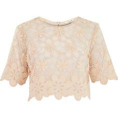 Nude floral lace crop t-shirt $80.00