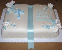 First Communion Cake Huge thanks to kells_bells for the inspiration! I copied your cake almost exactly because I thought it was so. Boy Communion Cake, First Holy Communion Cake, Christening Cake Girls, Bible Cake, First Communion Decorations, Religious Cakes, Confirmation Cakes, Book Cakes, Cross Cakes