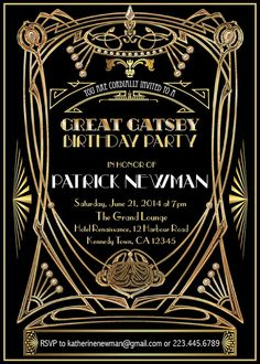 Great Gatsby birthday Invitation. Adult by ThePaperWingCreation