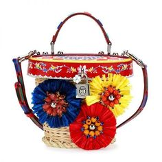Dolce and Gabbana Straw Flower Cross Body