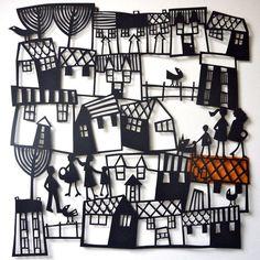 Village papercut Www.blastedglass.co.uk