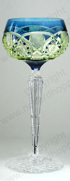 VINTAGE GLASS: DRINK SETS; DECANTERS, GLASSES, BARWARE. SCARCE c.1920 VAL ST. SAINT LAMBERT SAARBRÜCKEN BLUE CUT TO VASELINE URANIUM WINE HOCK GLASS