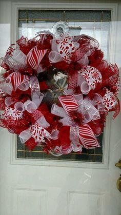Christmas Wreath /  Christmas Deco Mesh Wreath / Deco Mesh Wreath / Christmas decor / Christmas by BCsCraftyCreations on Etsy https://www.etsy.com/listing/254146787/christmas-wreath-christmas-deco-mesh