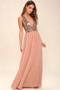 The Elegant Encounter Rose Gold Sequin Maxi Dress was made for fairy tale endings! A sleeveless sequin bodice with no-slip strips, and plunging V-neckline, is met by a fitted waist, and full woven maxi skirt, in a peach hue. Hidden back zipper/clasp. Women's Dresses, Best Maxi Dresses, Cheap Prom Dresses, Bridesmaid Dresses, Formal Dresses, Bridesmaids, Sequin Bridesmaid, Affordable Dresses, Dress Prom
